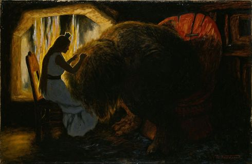 Theodor_Kittelsen_-_The_Princess_picking_Lice_from_the_Troll_-_Google_Art_Project